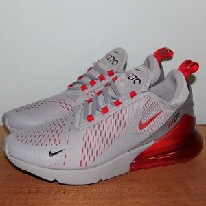 NEW Nike Air Max 270 Wolf Grey Red Shoes Men 10 13